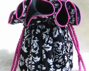 Jewelry Travel Pouch  with pink in Anti Tarnish Black Damask