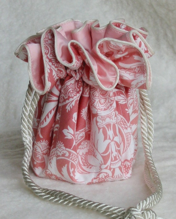 Jewelry Bag Pouch in Pretty Peachy Pink Damask