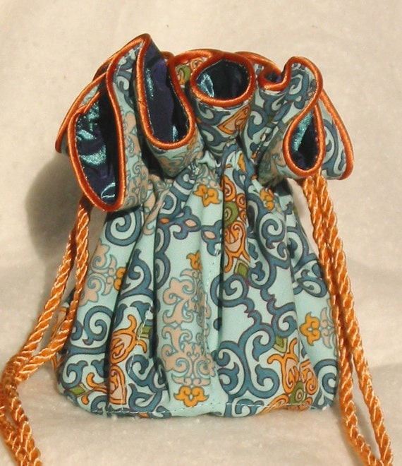 Jewelry Pouch Travel Organizer in Filagree in shades of teal, aqua and orange