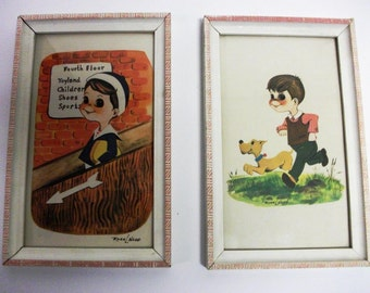60s Vintage Big Eyed Framed Childrens room Print set