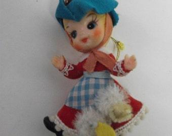 Miss Muffett Nursery rhyme Tiny Vintage Girl with Dog