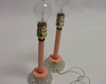 Vintage set of Bakelite Plastic Boudoir Candlestick Lamps