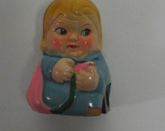 50s Vintage Ceramic Lady Pencil Sharpener