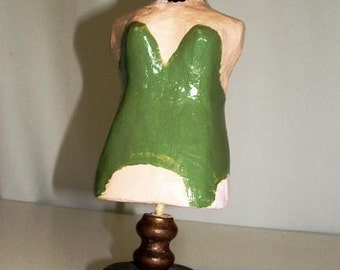 Tiny Hand painted Paper Mache Dress Form