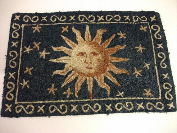 SALE Vintage Hand Hooked Celestial Rug
