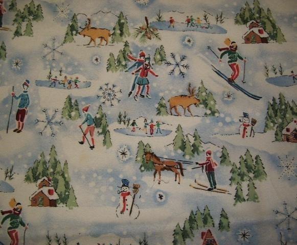 Retro Ski Print Flannel Fabric