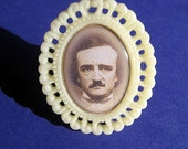 Fancy Yellow Edgar Allan Poe Cocktail Ring