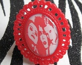 Fancy Red RHPS Trio Filigree Ring