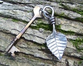 Steel Ash Leaf Key Chain - Hand Forged