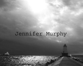 8x10 Lighthouse on Lake Michigan Photograph in Black and White