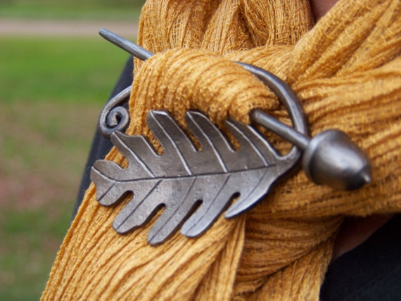 Hand Forged Oak Leaf and Acorn Scarf Pin