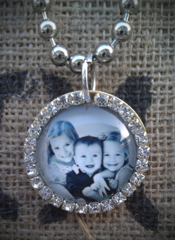 "1.5""  Silver or Gold Rhinestone Photo Necklace"