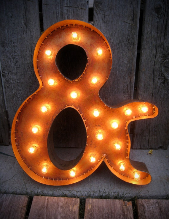 Marquee - Style Steel Ampersand with patina