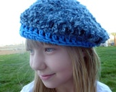 "Blue Storm Baret- Crocheted Blue Yarn Hat Approx 8"" Stretched"