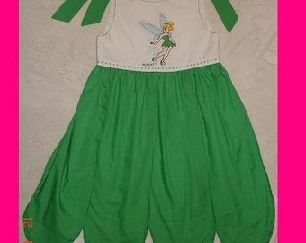 Disney Custom Boutique Princess Tinkerbell Embroidered Dress with Shoulder Ties (-----) You pick Size (-----) 12 Months-Girls size 8