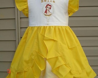 Custom Disney Princess Belle Embroidered Dress w/ruffles(-----)U pick the size(-----)12 Months to Girls size 8