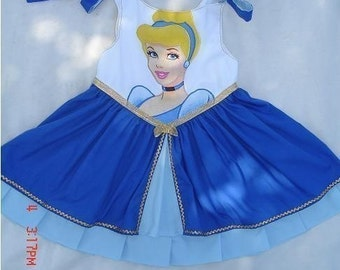 Disney Cinderella Appliqued Princess Dress (-----) u pick size 2-8 (-----) Custom Made