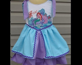 Disney's The Little Mermaid(-----)Ariel(-----)Custom Appliqued Princess Dress w/Embroidery(-----)Sizes 12 months to girls size 8