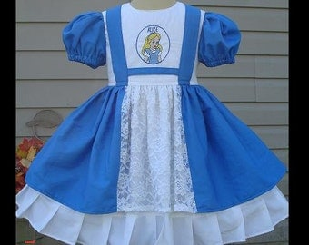 Custom Alice in Wonderland Dress w/Embroidery(-----)Ruffled Cap Sleeves(-----)Sizes 12 Months to girls size 8