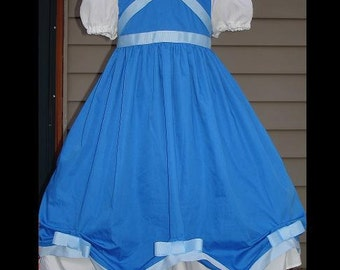 Custom Blue Cinderella Dress w/Light Blue Grosgrain Bows(-----)Sheer Cap Sleeves(-----)Sizes 12 Months to Girls size 8