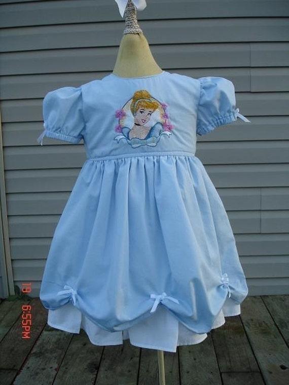 Disney custom PRINCESS CINDERELLA DRESS w/ Embroidered Cinderella (-----)12 Months to Girls size 8