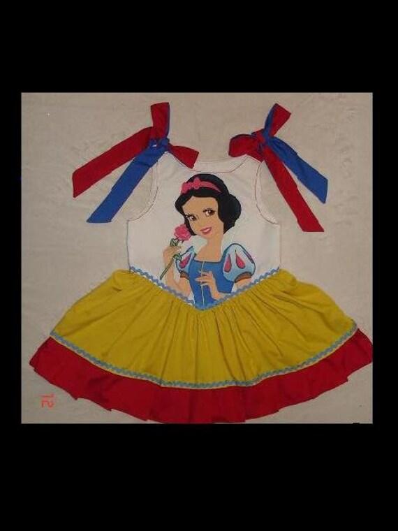 Disney Princess Snow White Appliqued Dress (-----)Shoulder ties(-----) Custom from Toddler size 2 thru Girls size 8