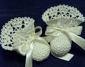 Crochet Ivory Heirloom Lace Ribbons Christening Booties Newborn Baby