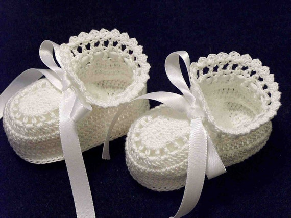 Easy Crochet Baby Boy Clothes Patterns : Crochet White Booties Christening Newborn Baby by ...