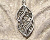 925 Antiqued Sterling Silver Filigree Charm, 22x10mm