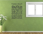 Family Rules - Vinyl Wall Decal Item FAM16