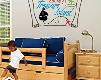 Pirate's Treasure Map  - Vinyl Wall Art - Personalized