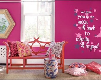Love you to the moon and back To infinity and beyond Personalized Vinyl Wall Decor Decal Item CS50