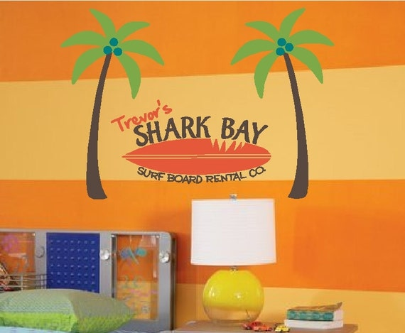 Surf Board Rental Palm Tree Vinyl Wall Decor Item KC26