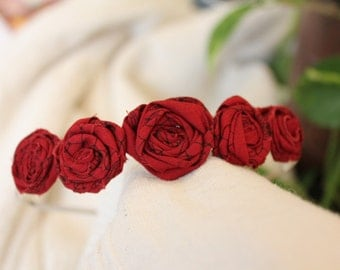 Pretty Pixie, rolled rosette headband in dark red vintage fabric