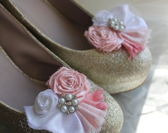 Wedding or Dress-Look pretty in pink... rolled rosette shoe clips