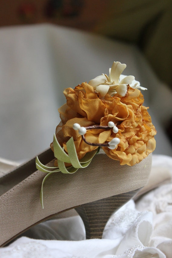 Wedding or Special Occasion Shoe Clips-  Mustard toned Chiffon Singed flowers with white woodland accents