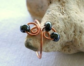 Black Sparkle . Copper Toe Ring .