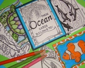 OCEAN- color your own art cards. ACEO sized collection of 12 cards of fish, dolphins, whales and more underwater drawings