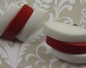 VINTAGE Red and White Plastic Earrings