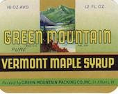 VINTAGE Label - Green Mountain Vermont Maple Syrup - Paper Ephemera
