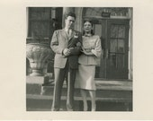 Vintage 1940s Photograph - Unhappy Couple Dressed Up