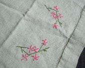 Vintage Embroidered Linen Tablecloth or Runner - Green with Flowers