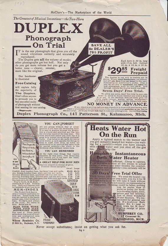Antique 1907 Advertisement - Phonograph and more..