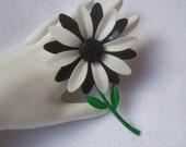 Vintage Enamel Flower Brooch Pin Black and White Petals Green Enamel Leafs