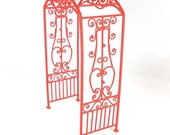 Sweet Cherry Red Miniature or Fairy Garden Arbor, Fanciful & Pretty