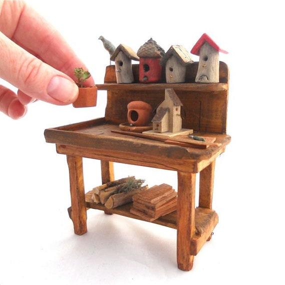Miniature Garden Bird Lover's Potting Bench with Handmade Birdhouses and More, OOAK