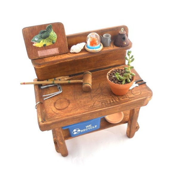 Miniature Garden Fun Lover's Potting Bench with Games, Gags and More, OOAK
