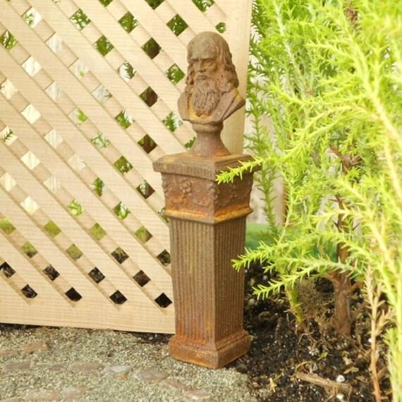 Miniature Garden Art, da Vinci Bust on Pedestal, Antiqued and Aged.