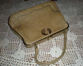 Beautiful Vintage Pebbled Leather Handbag Purse with Unusual Accents Blonde Tan with Gold