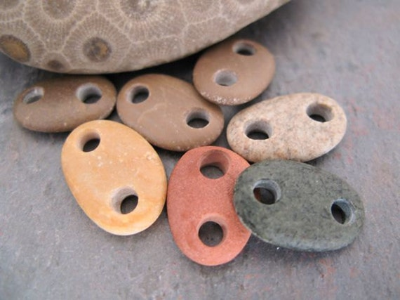Drilled beach stone connector beads by BeachStoneSoup - Linked